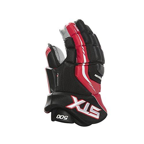 STX Surgeon 500 Junior Ice Hockey Gloves, Black/Red, 12