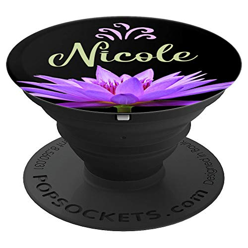 Nicole Purple Water Lily Flower Lotus Personalized Name Gift - PopSockets Grip and Stand for Phones and - Lotus Lily Water Blossom