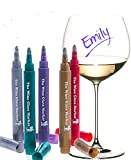 The Original Wine Glass Markers - (Set of 5 Wine Markers) - Lifetime Replacement Warranty -Vibrant Colors - Wine Glass Charms - Fun Wine Accessories - Write on any glassware - Easy Erasable