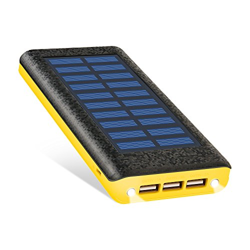 Solar Charger Ruipu 24000Mah Portable Solar Power Bank With 3 Usb Port External Battery Pack Phone Charger With 2 Flashlight And Usb Fan For Iphone Ipad Samsung Htc Cellphones Tablet And More Yellow