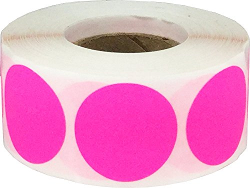 Color Coding Labels Fluorescent Pink Round Circle Dots For Organizing Inventory 1 Inch 500 Total Adhesive Stickers