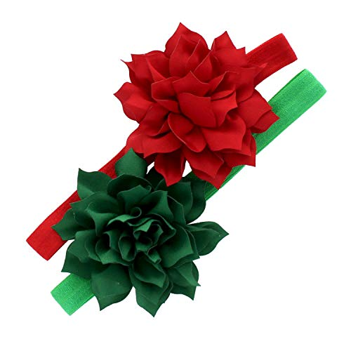 My Lello Baby Petal Flower Headbands Mixed Colors 2-Pack (Red/Green)