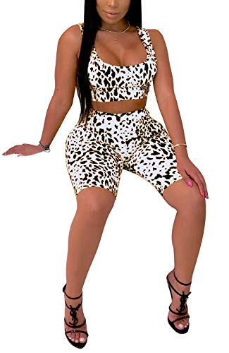 Women Two Piece Outfits Short Top and Print Trousers Suit Jogger Set Tracksuits White XL