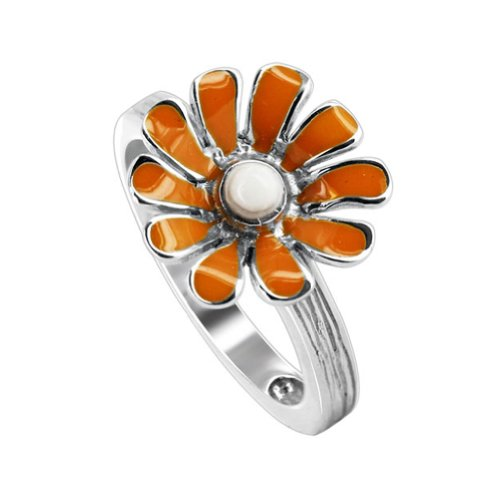 Gem Avenue 925 Sterling Silver Daisy Flower Texture finish Ring Size 10 With Orange & White Enamel
