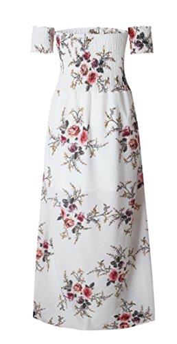 Off Shoulder Pleated Flowy White Split Dress Print Women's Cromoncent Sexy Beach pEwqFw5