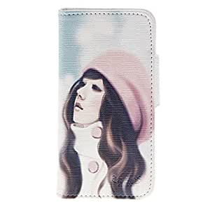 DUR Beautiful Girl Pattern PU Full Body Case with Stand and Card Slot for iPhone 5/5S
