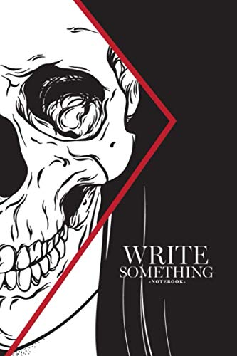 - Notebook - Write something: Beautiful brunette with half skull face hand drawn black and white line art and dot work notebook, Daily Journal, ... College Ruled Paper, 6 x 9 inches (100sheets)
