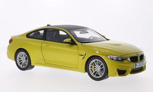 BMW M4 Coupe, metallic-jaune, voiture miniature, Miniature déjà montée, I-Paragon 1:18