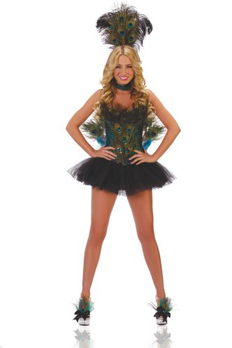 Peacock Sexy Costumes (Starline Women's Sexy Peacock 5 Piece Deluxe Costume Corset Set, Blue/Green, Small)