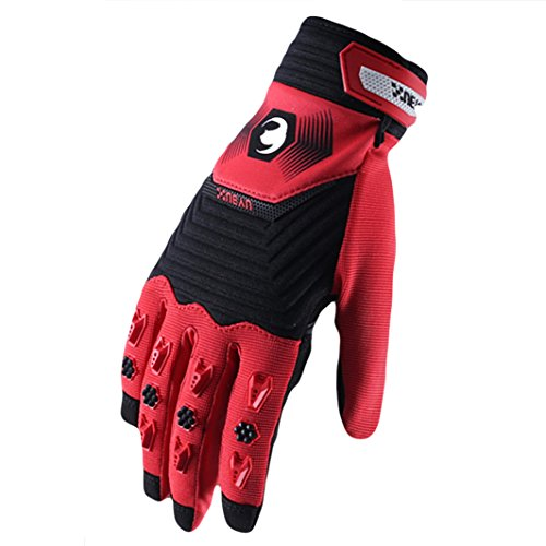 Lidauto Motorcycle Riding Gloves Bicycle Gloves Full Finger Outdoor Racing For Men Ladies,red,M
