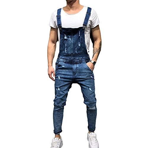 FULA-bao Men's Distressed Denim Bib Overalls Jumpsuit Ankle Length Ripped Skinny Jeans Coveralls with Pocket (Blue, L)