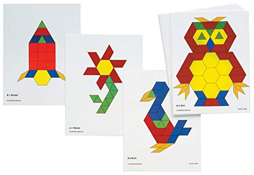 Learning Advantage Pattern Block Activity Cards - Set of 20 - Early Geometry For Kids - Teach Creativity, Sequencing and Patterning