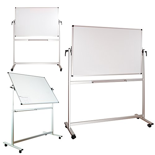 Lockways Mobile Magnetic Whiteboard - Dry Erase Board 60 x 40, Double Sided White Board, Silver Aluminum Frame Dry-Erase Board for Office, School, Studio, Home