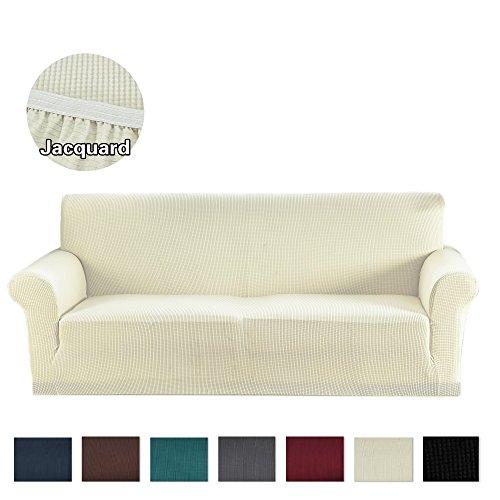 Argstar Jacquard Sofa Cover Soft Elastic White