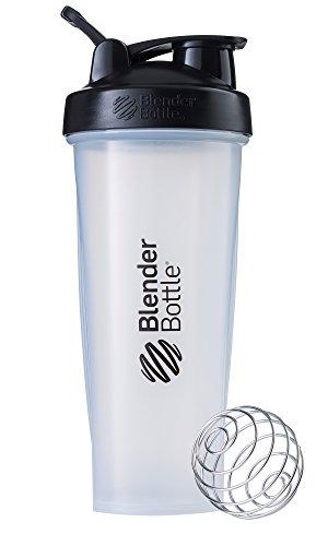 BlenderBottle Classic Loop Top Shaker Bottle, 32-Ounce, Clear/Black/Black
