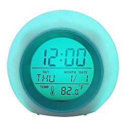 Ageoflove Kids Alarm Clock - Digital LED Clock with 7 Color Switch and 6 Ringtones for Bedrooms – Clear Backlit Screen & Touch Control - With Snooze Function for Heavy Sleepers