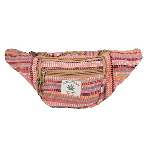 (Hemp Fanny Pack,Adjustable Waist and Multiple Pockets,Waist Bag & for all purpose (Multi- Red))