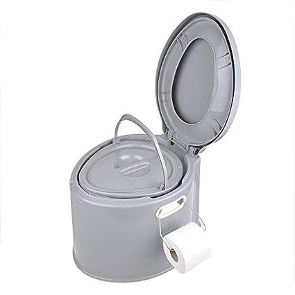 WC portátil para camping; con cubo extraíble, asiento y tapa, 7 l: Amazon.es: Deportes y aire libre