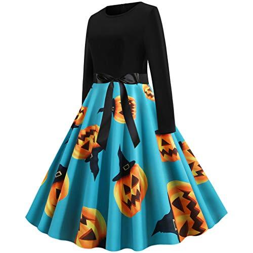 Heberry Women Dress Vintage Long Sleeve Halloween 50S Evening Party Prom Dress Blue