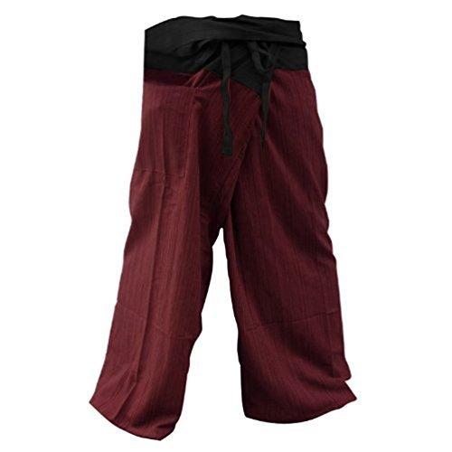MEMITR 2 Tone Thai Fisherman Pants Yoga Trousers Free Size Cotton Black and Red by MEMITR