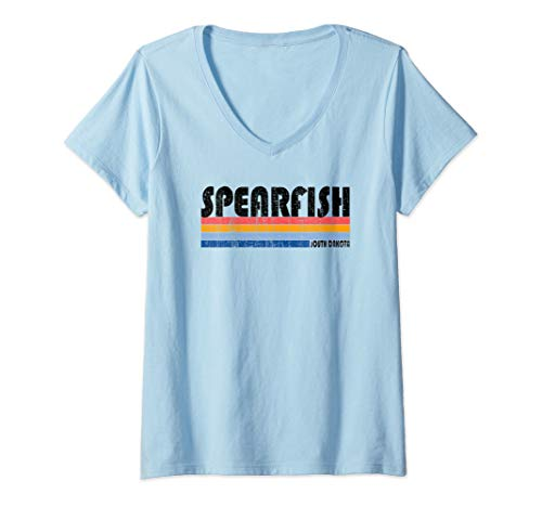(Womens  Vintage 70s 80s Style Spearfish, South Dakota V-Neck T-Shirt)
