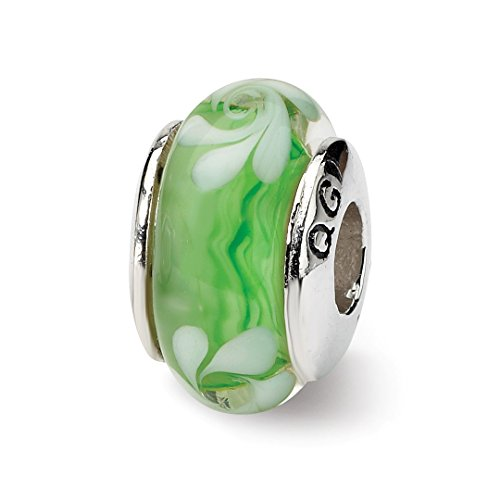 Charm For Bracelet Green/white Hand Blown Glass Bead Glas H Fine Jewelry For Women Gift Set ()