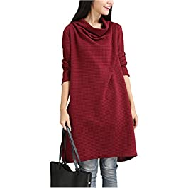Mordenmiss Women's New Cowl Neck Long Sleeve Tunics Tops