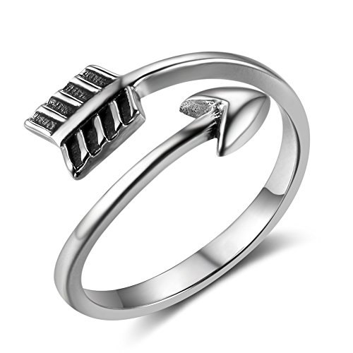 Cupid White Gold Ring - MASOP Vintage Adjustable Arrow Rings for Women Men Sterling Silver Open Boho Stackable Knuckle Finger Jewelry