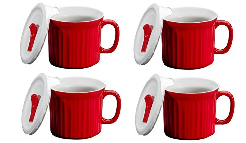 CorningWare Pop in mug, 4 mugs with vented plastic covers (Bake, Microwave) 20 oz/591ml (Tomato RED)