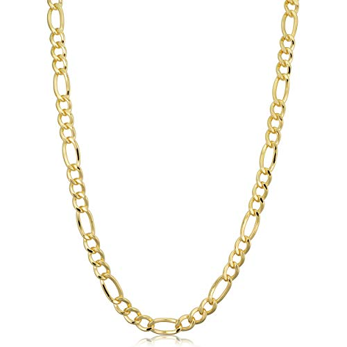 Kooljewelry 14k Yellow Gold Filled Solid Figaro Link Chain Necklace (5.2 mm, 18 inch) (Solid Gold Figaro Chain For Men)
