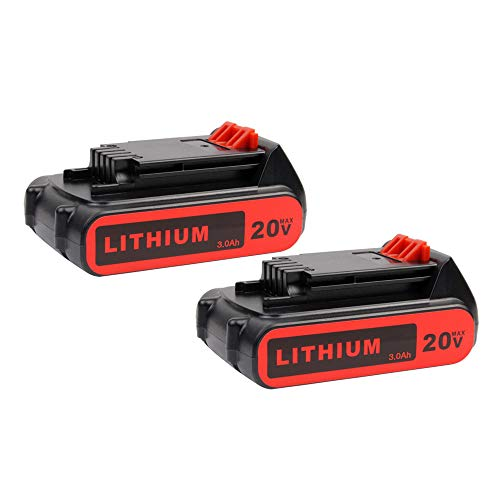 2Pack 3000mAh LBXR20 Replacement Battery for Black and Decker 20V Lithium Battery MAX LB20 LBX20 LBXR2020 LBX4020 LB2X4020-OPE LBXR20-OPE Cordless Power Tools (Lithium 20 Volt Battery)
