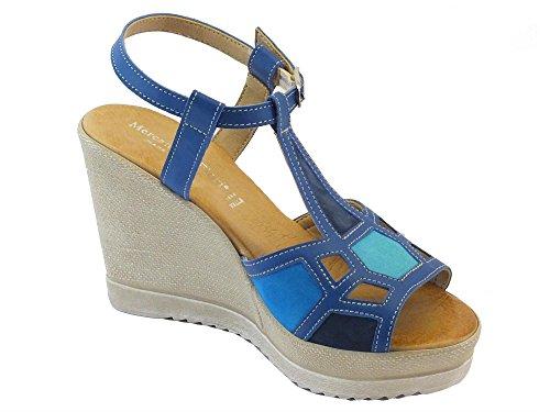 Mercante di Fiori 53803 Pelle Blu Multi - Sandalias de vestir de Piel para mujer turquesa