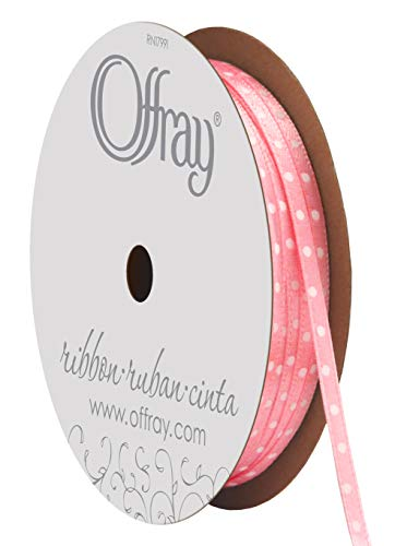 "Offray 255568 Berwick 1/8"" Double Face Satin Mini Dot Ribbon, Pink with White Polka Dots, 11 yd., Pink/White"