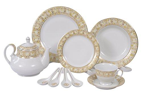 Calvin Klein Eternity Marigold 28 Piece Dinner Service, Porcelain White/Cream, 50 x 40 x 40 cm