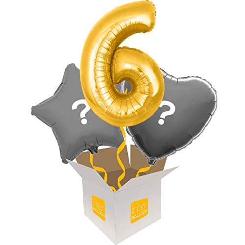 3 Balloon Bouquet InterBalloon Helium Inflated 34  Number 6 gold Megaloon Balloon Delivered in a Box with 4 Extra Balloons of your choice