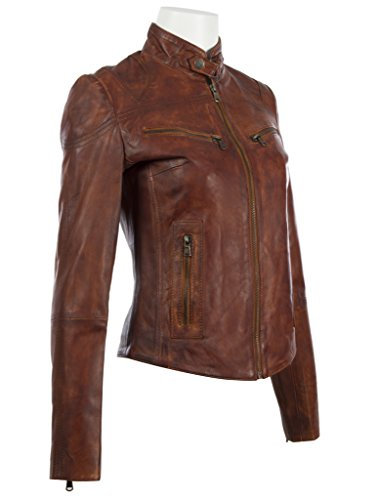 Aviatrix Ultra Femmes Cuir Veritable Veste De Super Motard elegante crd9 En Timber Doux Nevada rRcYwrtUvg