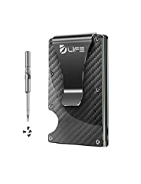 Dlife Carbon Fiber Men Mini Wallet Money Clip Screw Fixation Elastic Band + 1 Screwdriver & 4 Extra Screws - Credit Card Holder RFID Blocking Wallet