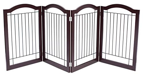 Internet's Best Wire Dog Gate with Arched Top | 4 Panel | 30 Inch Tall Pet Puppy Safety Fence | Fully Assembled | Durable Wooden | Folding Z Shape Indoor Doorway Hall Stairs Free Standing | Espresso
