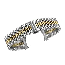 18mm Premium Two Tone Multiple End SS Watch Band Polished Inox Steel in Silver and Gold Jubilee Style