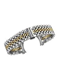 22mm Men's High-Grade Solid Link Watch Strap Replacements Stainless Steel in Two Tone Silver and Gold