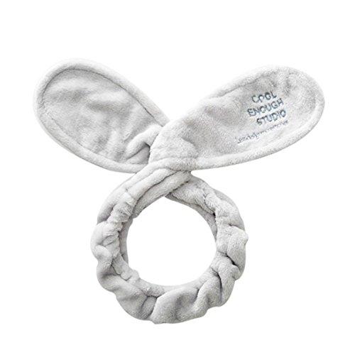 abbit Ears Girls Hairband Turban Bow Knot Headband Hair Band (Grey) (Lovely Dot)