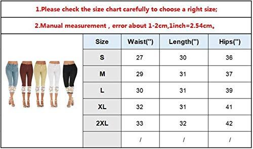 8 Mujeres Delanteros Cintura Pantalones 7 Empalme Encaje Casuales Bolsillos Alta Botón Jeans Leggings Slim Color Fit Sólido Braun Damas Bd77nW