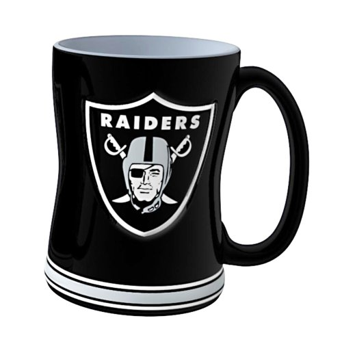 NFL Oakland Raiders Sculpted Relief Mug, 14-ounce, (Oakland Raiders Nfl Coffee)