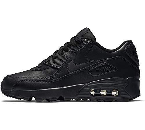 Nike 833412-001 Kid's Air Max 90 Leather Running Shoes, Black/Black, 7 M US Big Kid