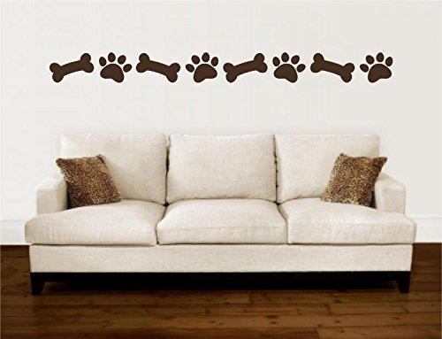 (Enchantingly Elegant kw030j Paw Prints Dog Bones Border Pet Vinyl Decal Wall Sticker Art Words Lettering Home Décor 105x3, 105