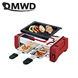 DMWD Electric Raclette Grill Double Layers Smokeless Griddle Non-Stick BBQ Pan Bakeware Skewer Outdoor Barbecue Machine EU plug 220V