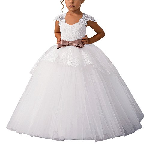 Elegant Lace Appliques Cap Sleeves Tulle Flower Girl Dress 1-14 Years Old White with Pink Bow Size 12