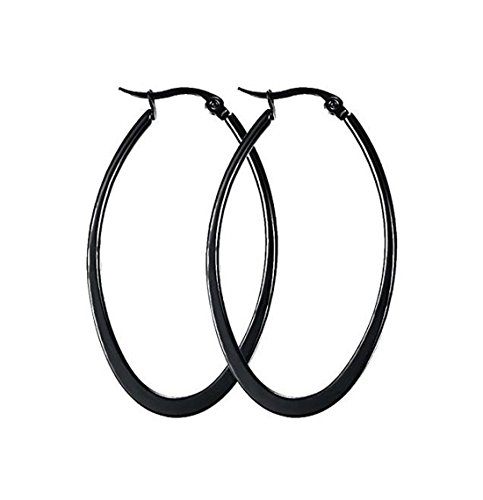 Andyle Stainless Steel Oval Teardrop Hoop Earrings For Women Hypoallergenic Huggie Rose Gold Black Silver