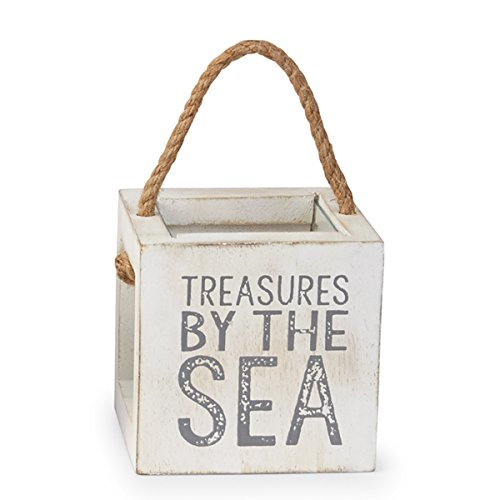 Mud Pie 4865031T Mango Wood Treasure Box, By The - Collection Shell Sea