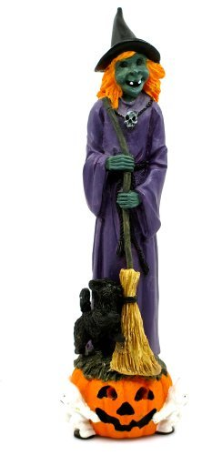 Halloween Screeching Witch,purple Dress,skull Necklace,broom,black Cat,pumpkin,ghosts,battery Included]()